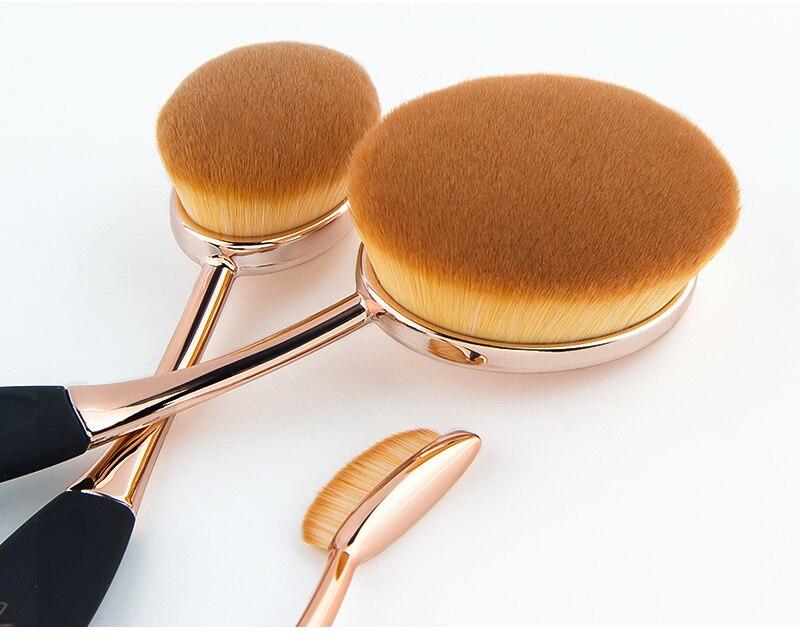 Anmor Professionnel 10 PCS Rose Or Ovale Maquillage Pinceaux extrêmement Souple Make Up Fondation Pinceau Poudre Kit avec Noir sac 6