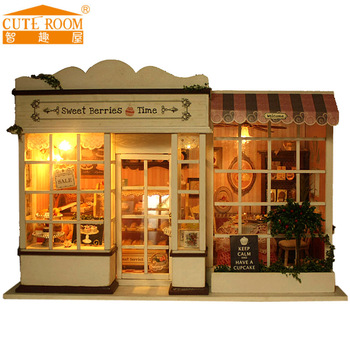 Cutebee DIY House Miniature with Furniture LED Music Dust Cover Model Building Blocks Toys for Children Casa De Boneca