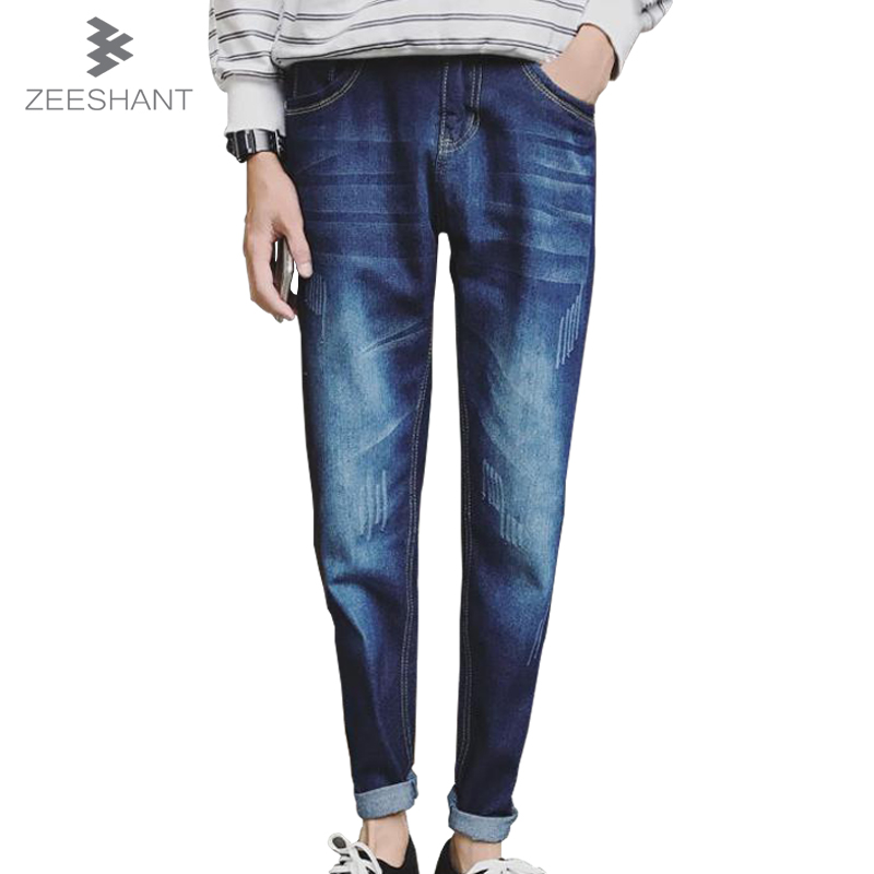ZEESHANT 2017 Mens Slim Fit Ripped Jeans for men Jeans with Holes Summer Denim Cotton Harem Female Male Jeans in Men's Jeans summer mens retro slim fit casual jeans vintage washed street wear cargo denim shorts with holes for men