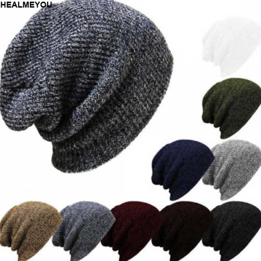 Mens Womens Winter Warm Beanie Knitted Crochet Slouch Hip Hop Skull Ski Hat Cap