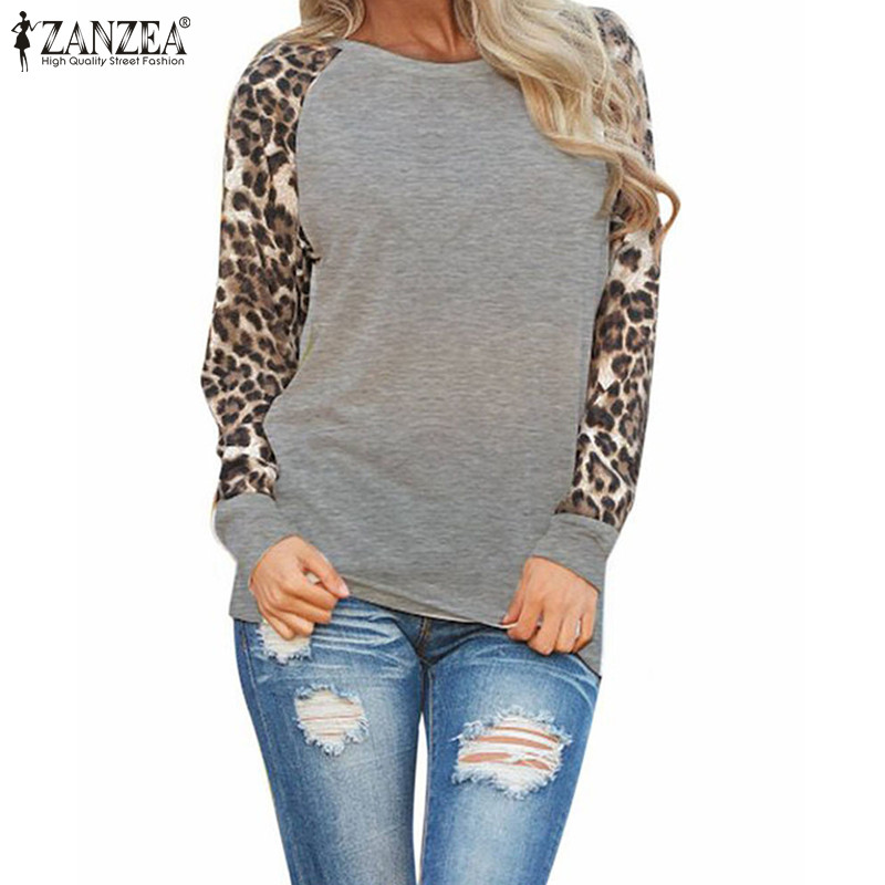 ZANZEA Fashion Blusas 2017 New Women Ladies Spring Autumn Long Sleeve  Leopard Loose Casual Tees Tops T Shirt Plus Size ...
