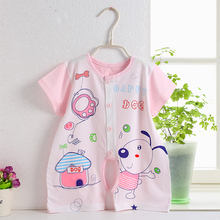 Baby summer leotard crotch with slim suits short-sleeved Romper Ha newborn clothing supplies Reptiles