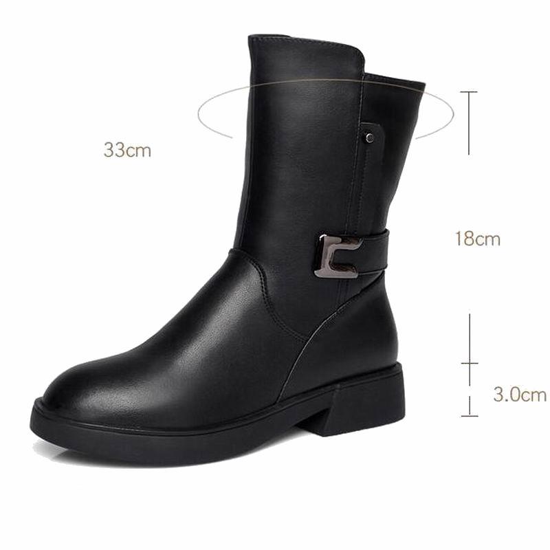 Office & School Supplies Steady Gktinoo Winter Boots Wool Fur Inside Warm Shoes Women High Heels Soft Leather Shoes Platform Snow Boots Footwear Botas