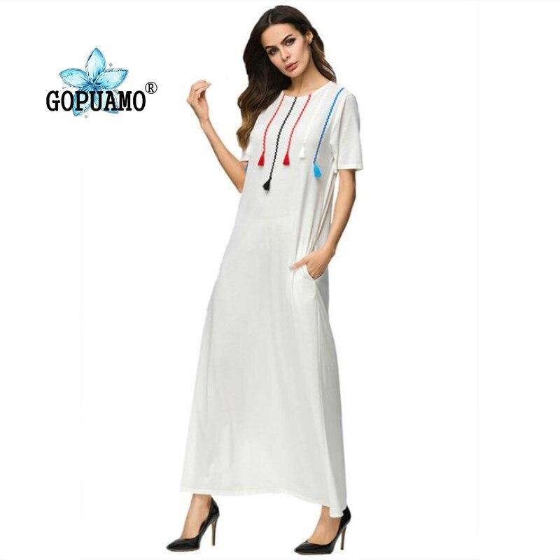 Dubaï Abayas pour les femmes vêtements islamiques musulman Long T Shrit Robe caftan malaisie turc turquie Robe gland blanc Maxi robes