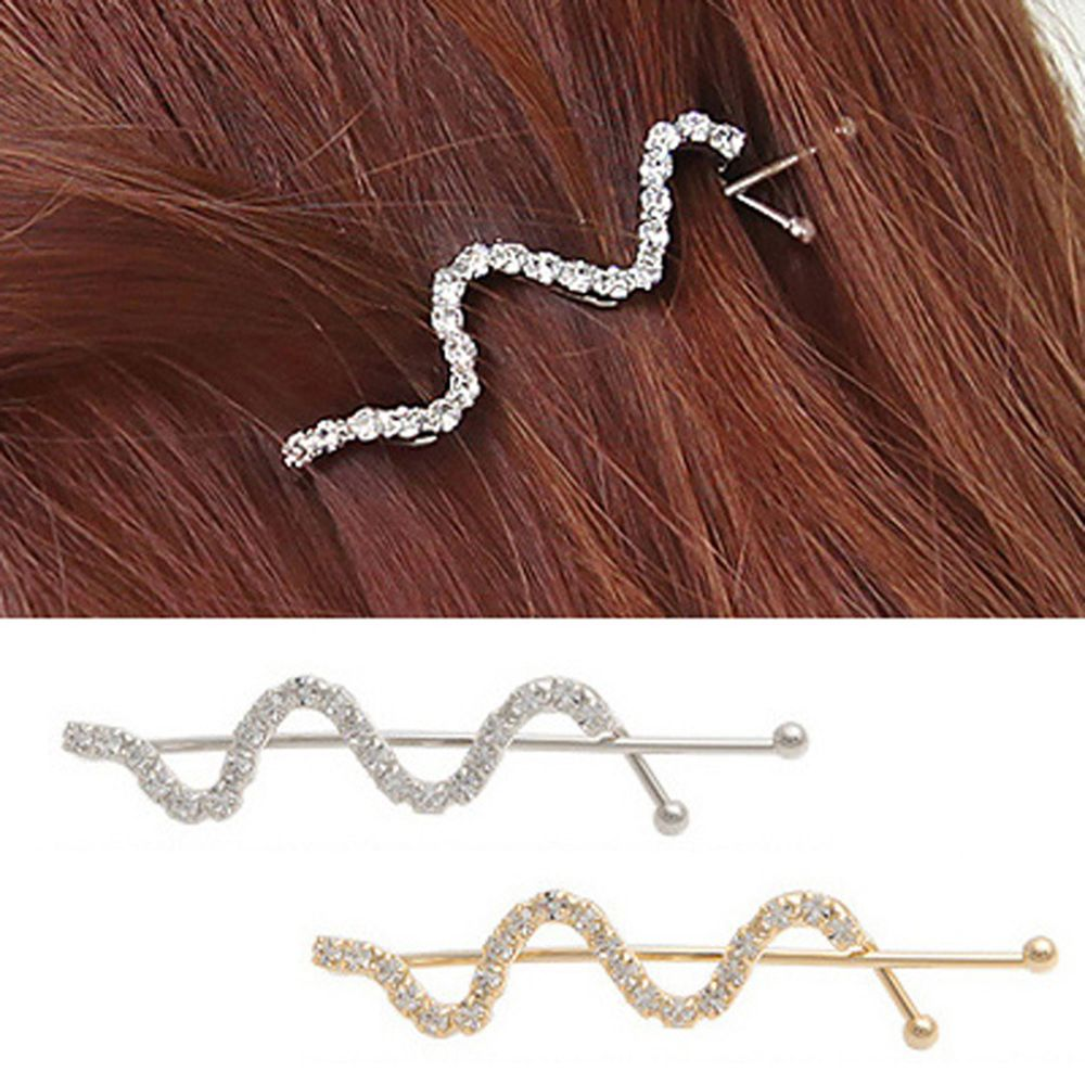 New Hot Women Barrettes Silver Gold Color Hairpin Wave Desgin Hair Clips Alloy Crystal Hair Grips Fashion Hair Clip Accessories
