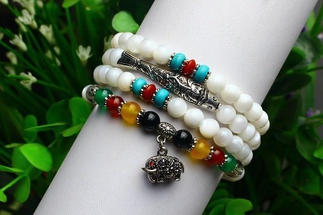Ubeauty 6mm108 Тибетский серебряные ювелирные изделия Натуральный белый агат кристалл четки браслет женщины Медитация ожерелье
