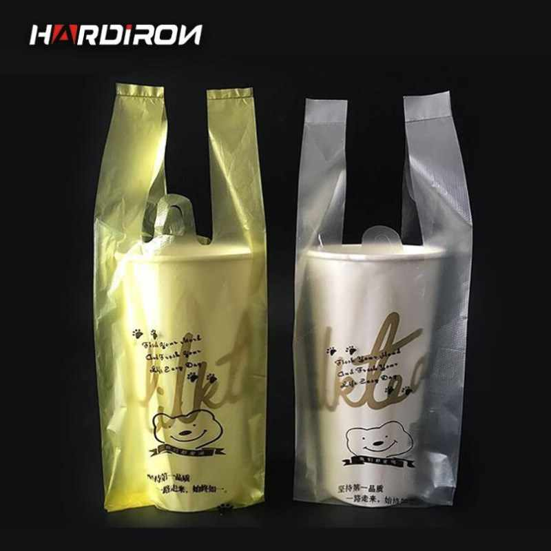 HARDIRON 400 PCS Plastic Bags 650ml Transparent Single Cup Pocket Portable Plastic Sack Coffee Milk Tea Drink Disposable Pouch