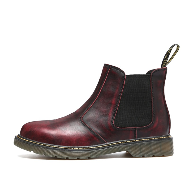 Brown Chaussures Marque Kanye Chelsea Botas Automne Hombre Cuir Qualité Rétro En red Suede Brun black Noir Bottes Hommes Élastique Cheville 2017 De Hiver OSApqg
