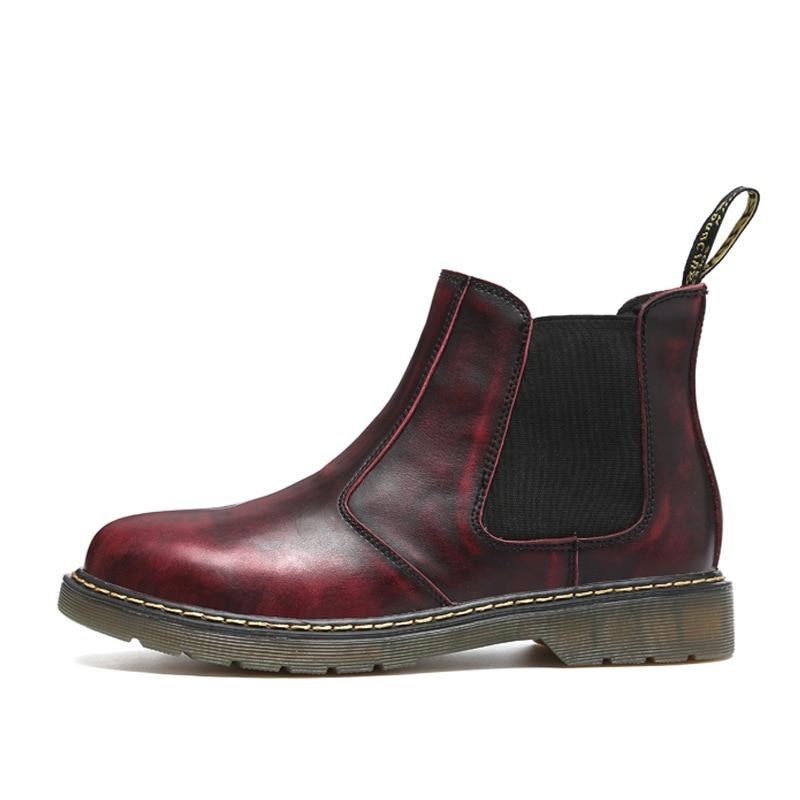 Cuir Qualité Brown red Élastique black Chaussures 2019 Bottines Suede Botas Chelsea Kanye Brun Hiver Automne Cheville Hombre De En Hommes Noir Rétro Marque 2IeEH9WDY