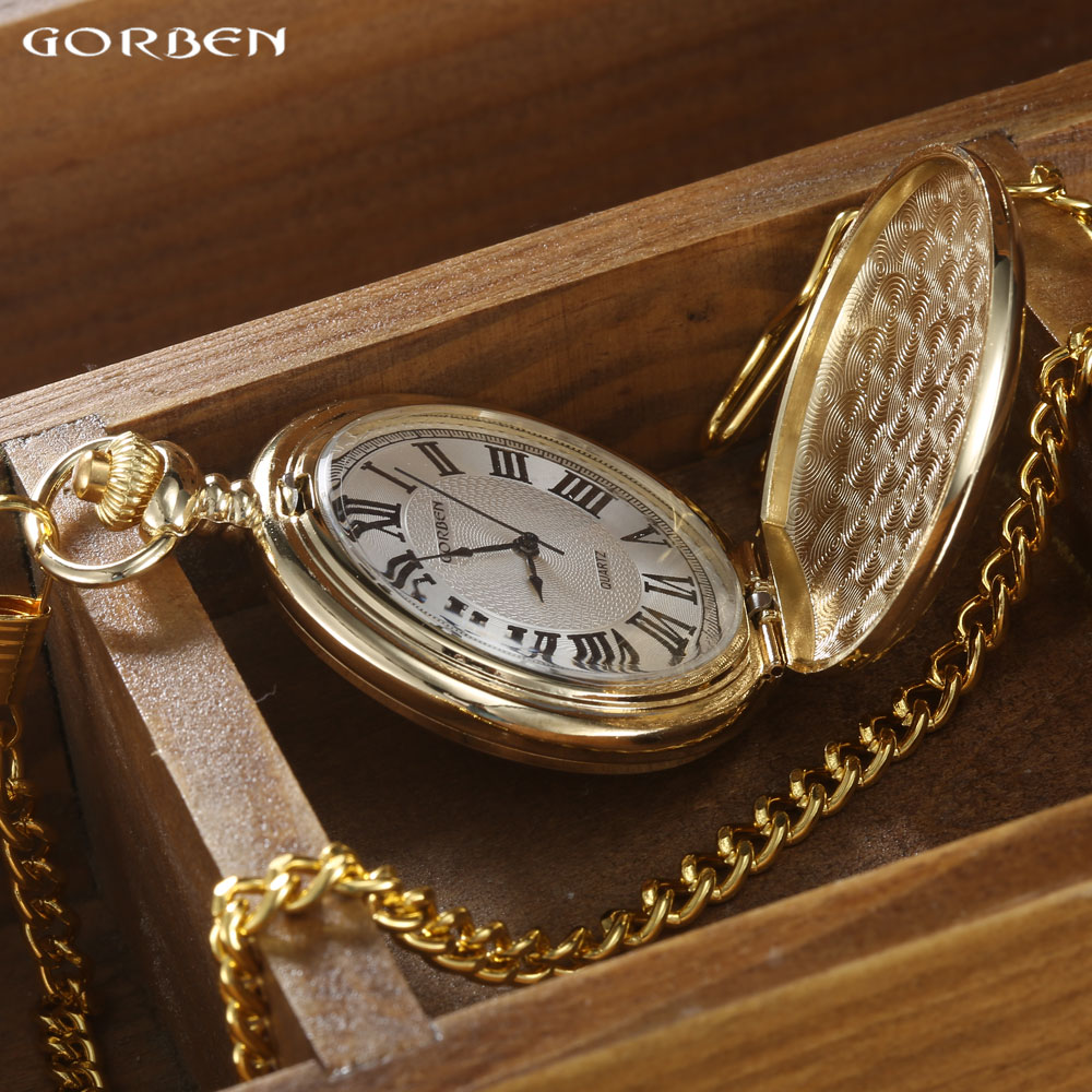 GORBEN Marca Clásico Reloj de Bolsillo de Cuarzo Para Hombres de Oro - Relojes de bolsillo - foto 4