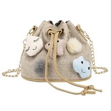 Ladies Cartoon Cute Bucket Bag For Women Fashion Mini Shoulder Drawstring Fringed Package Linen Chain Crossbody Handbags