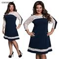 Three Четверти Кружева элегантный Dress большие размеры 2017 женщины лето Осень Плюс Размер dress случайные свободные dress vintage vintage vestidos