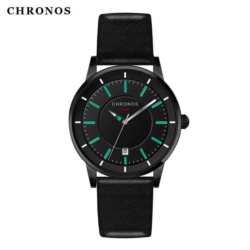 Reloj de los hombres de cuero genuino impermeable reloj de pulsera de - Relojes para hombres - foto 3