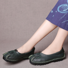 2017 Women Flat Shoes Spring Autumn Genuine Leather Loafers Woman Vintage Handmade Shoes Soft Outsole Shoes ML02