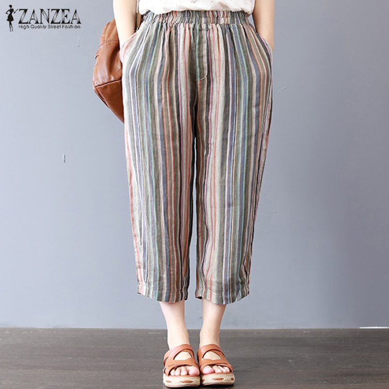 ZANZEA Women Summer Elastic Waist Loose Wide Legs Harem Pants Stripe Pantalon Casual Cotton Baggy Trousers Joggers Plus Size