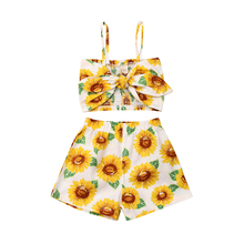 Toddler Kids Baby Girl Clothing Set Summer Bow Sleeveless Tops T-shirt Floral Shorts Outfit Baby Summer Clothes Toddler Costume kids toddler girl summer clothing set ruffle off shoulder t shirt top bow skirt tutu dress stripe baby clothes outfit