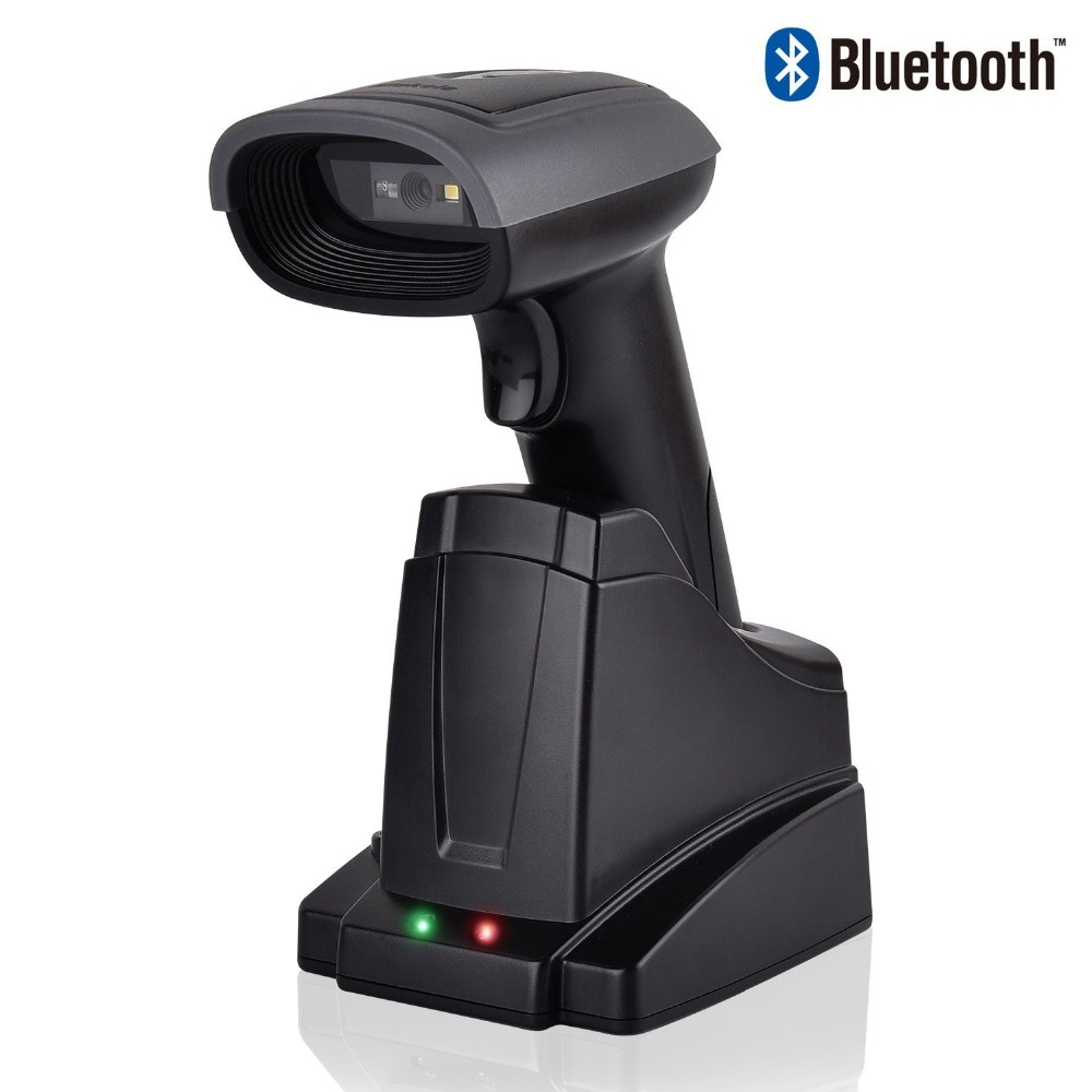 Handheld Wireless 2D QR Bluetooth Barcode Scanner Barcode Reader 2 in 1 Automatic Bar Code Scanner Android iPhone Windows PC