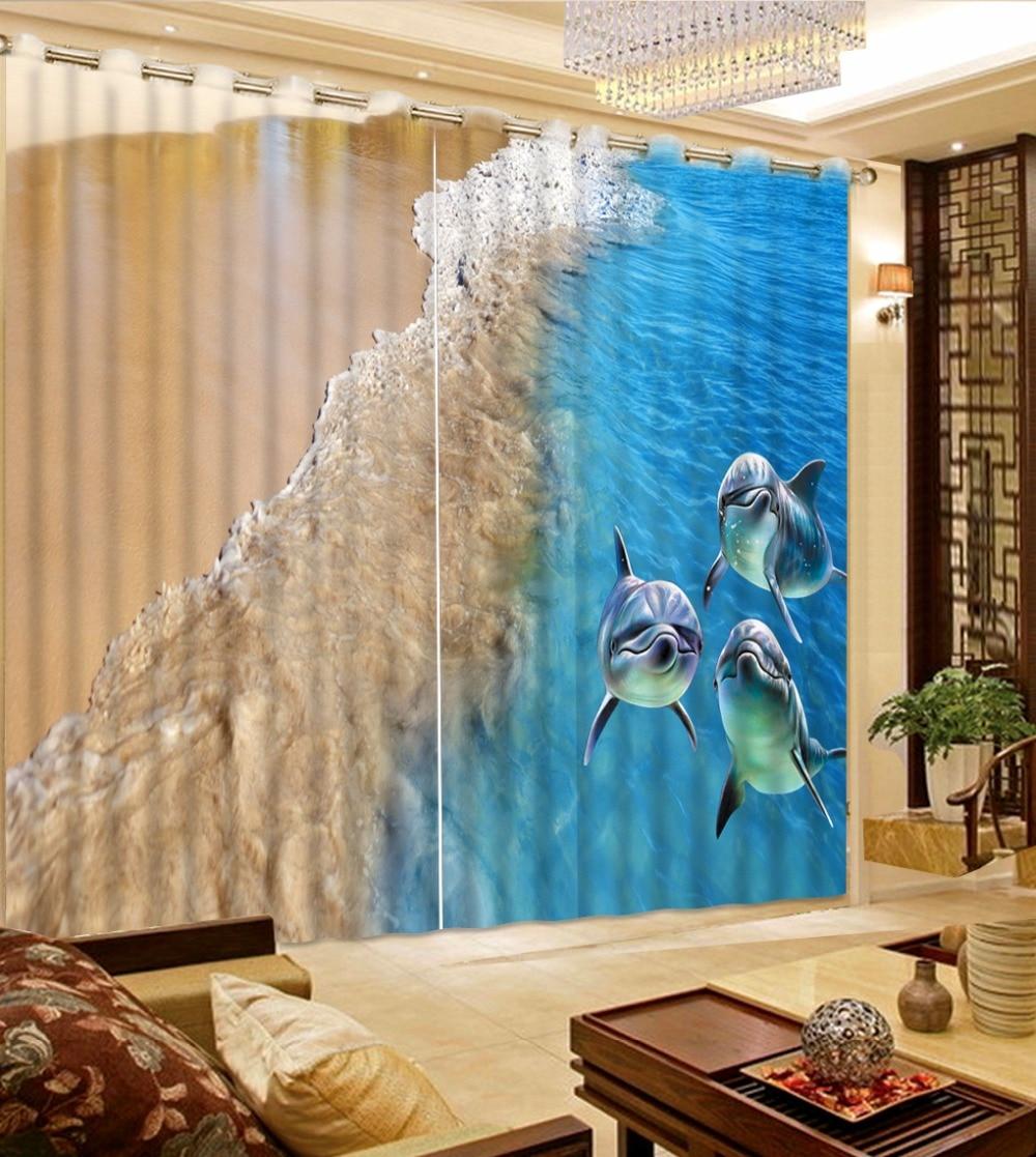 3D Curtain Blackout Shade Window Curtains Photo Customize Size Beach Wave Dolphin Curtain Blue Curtain
