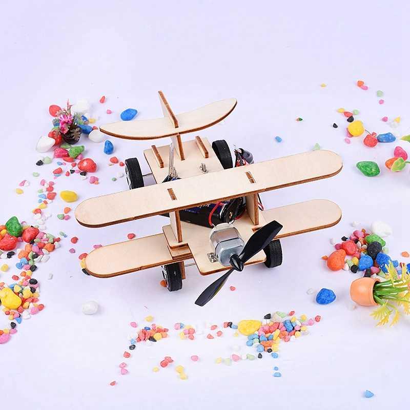 DIY Handmand Montieren Modell Kit Wind-powered Kleine Flugzeuge Kleine Erfindungen Wissenschaftliche Experimente Pädagogisches Spielzeug Für Kinder