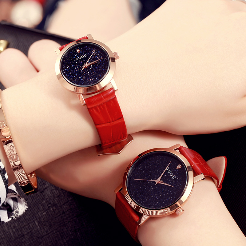 2017 GUOU Fashion Wrist Watch Women Watches Ladies Luxury Brand Famous Quartz Watch Men Clock Relogio Feminino Montre Femme mance famous brand woman watches 2016 fashion luxury women clock charm wrap around leatheroid quartz wrist watch montre femme