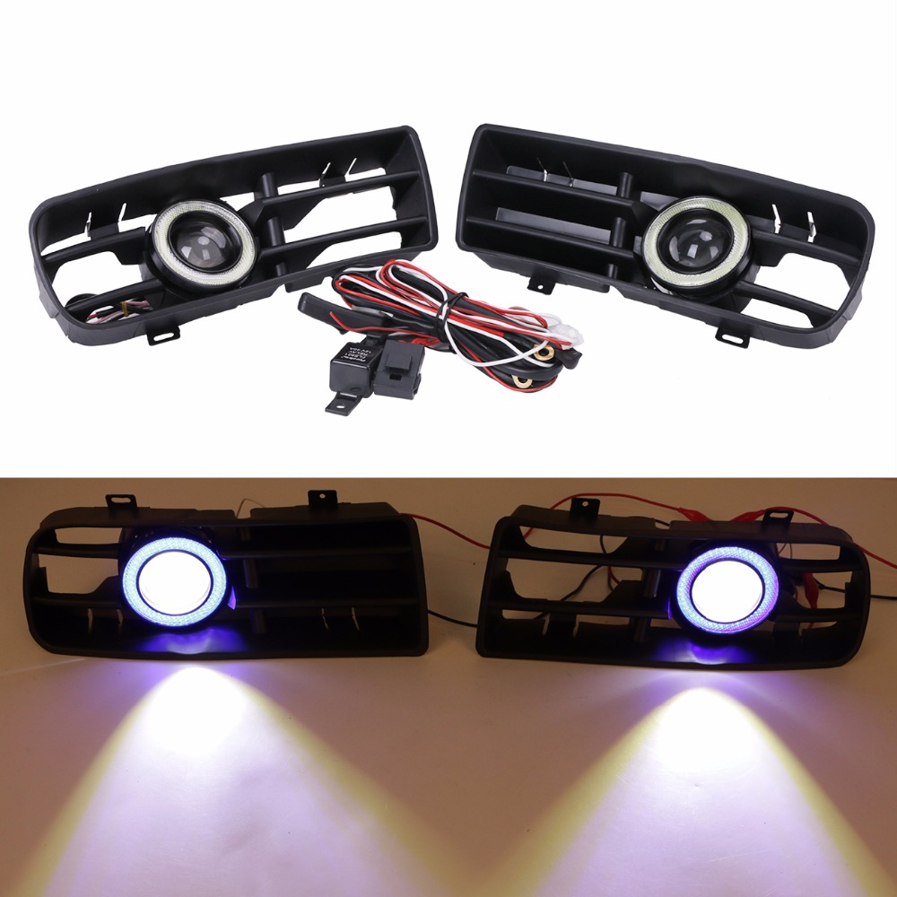 For VW Golf GTI/TDI MK4 1998-2004 LED DRL Daytime Running lights Bumper Grille projector lens fog lights+ Angel Eyes lights CASE new led daytime running lights drl with halo ring angel eyes for mini cooper rally driving lights front bumper 6000k 1900lm auto