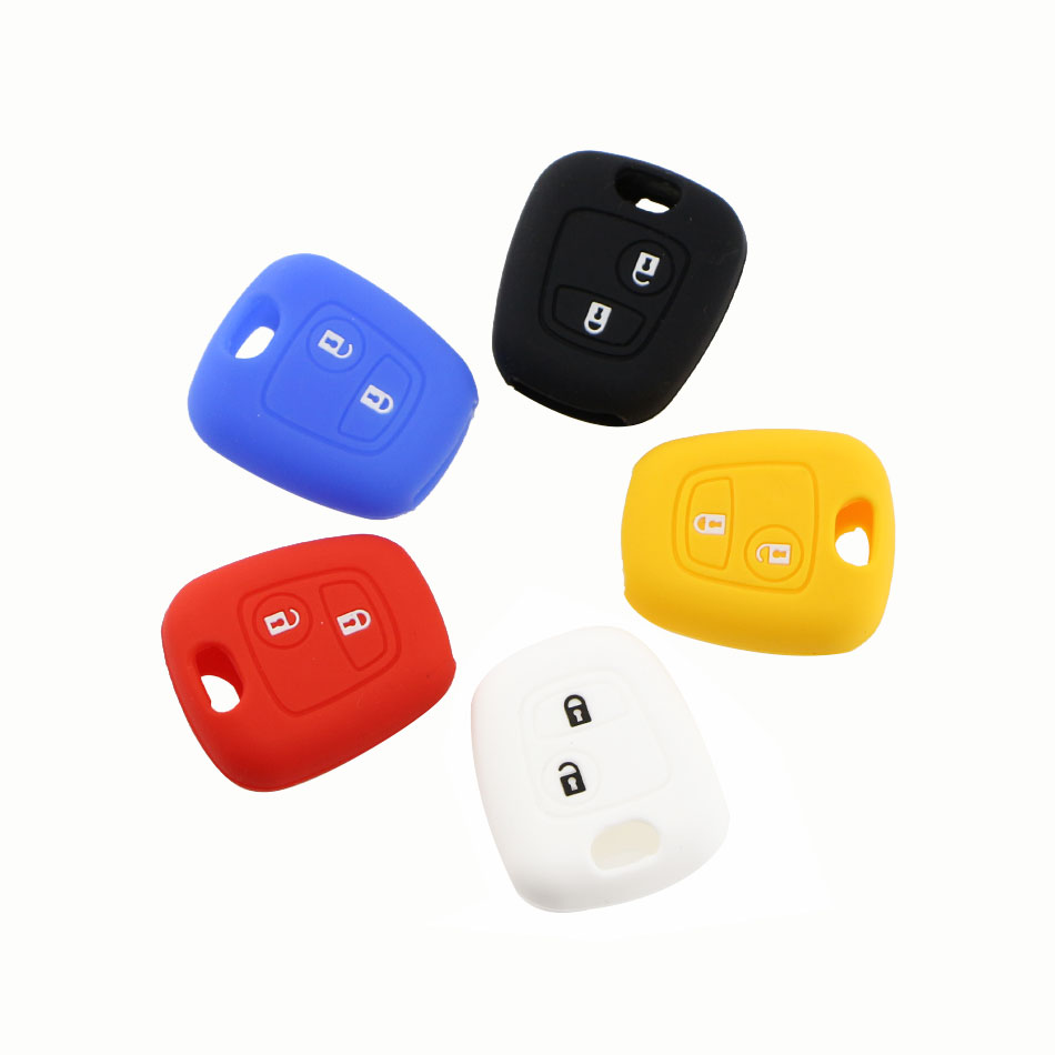 Silicone Key Cover Case for Peugeot 107 206 307 207 406 408 for Citroen C1 C2 C3 Berlingo Picasso Xsara Picasso for Toyota Aygo new arrival high quality leather key chain ring cover holder car styling for peugeot 107 206 207 307 408 for citroen c2 c3 c4