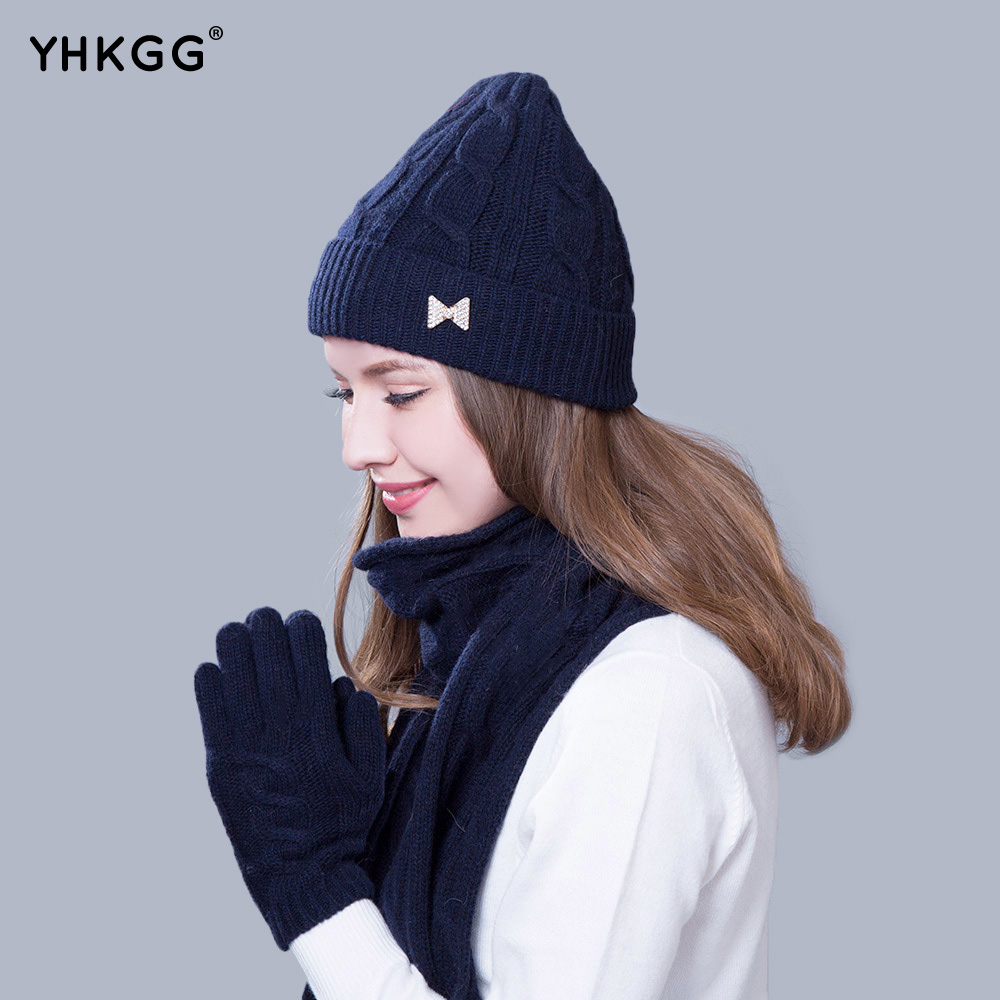 2017 Women Scarf And Hat Gloves Set Knitted Girls Thicken Knitting  Winter Warm simplicity wholesale 2pr set knitted touchscreen gloves