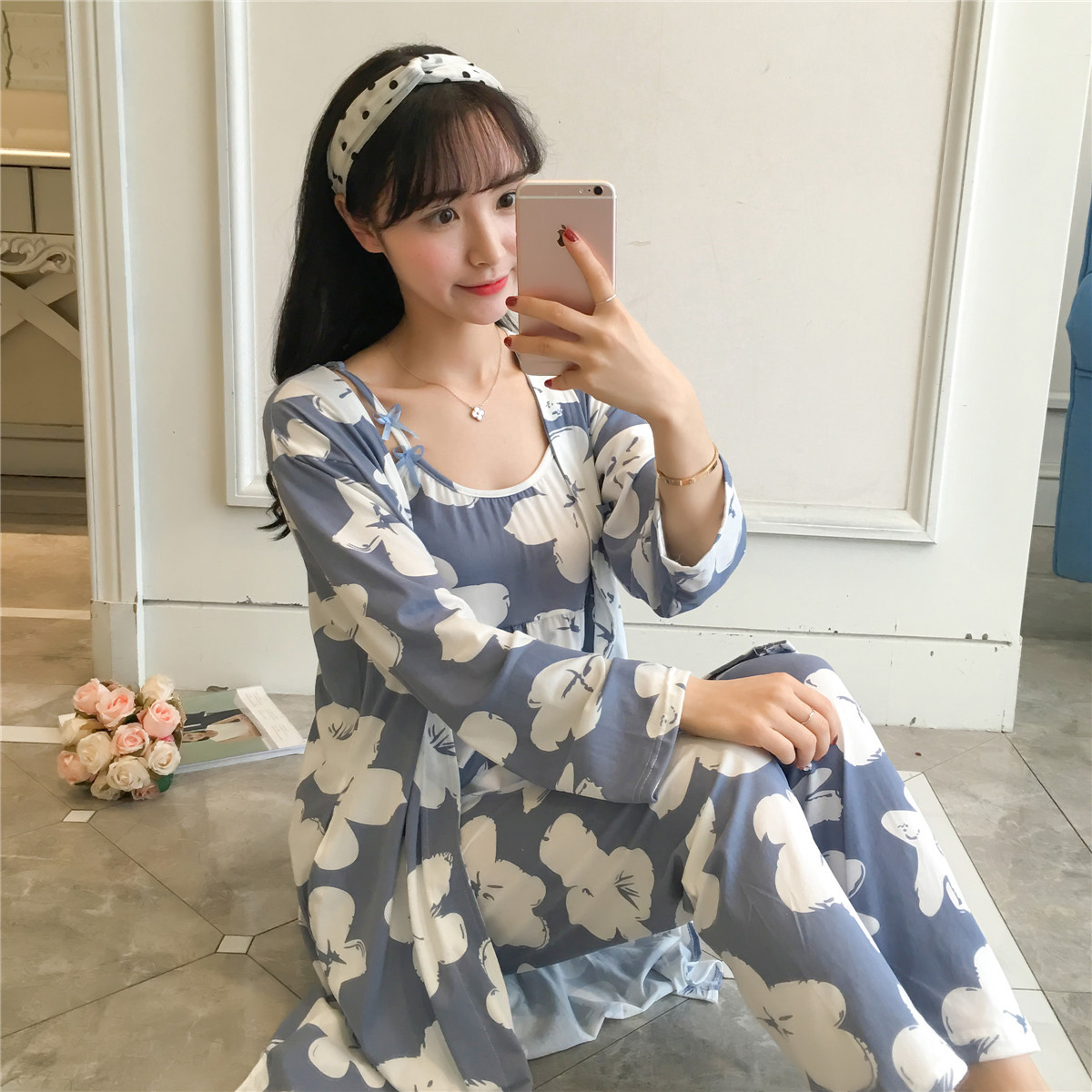 Sleepwear 3 Pieces Pyjama   Set   2019 Women Spring Summer Sexy Cotton   Pajamas     Sets   Sleep Suit Sweet Cute Nightwear Home Clothes