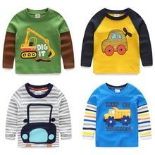 Meninos T-shirt Dos Miúdos T-shirt Do Bebê Cartoon Criança Menino Primavera Crianças Tee Carros Caminhões de Costura de Algodão de Manga Longa Camisa Listrada Outono