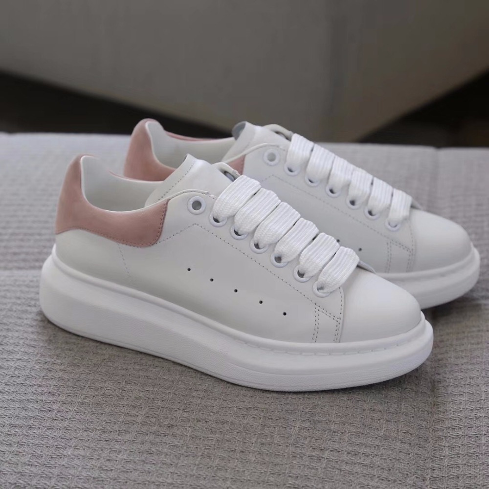 2018 shaduo Summer Fitness Girl powder round Thick-sole anti-slip lace-up sneakers leather stitching white woman shoes цена