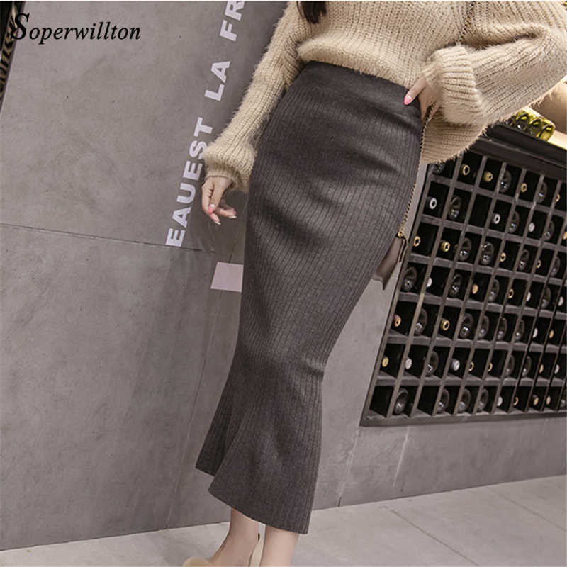4b1a06c50d8 ... High Waist knitted Skirts Womens Long Bodycon Knit Pencil Skirt Female  Back Slit wrap Bandage Ladies ...