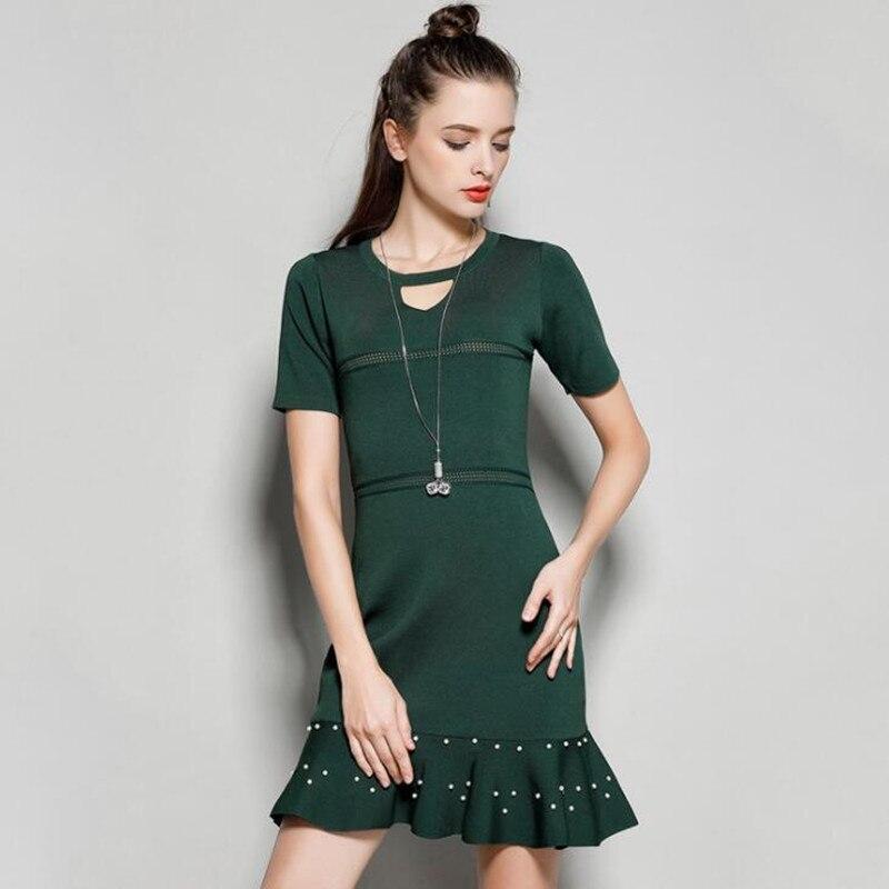 New Summer Short Sleeve Sweater Dress O Neck Hollow Out High Waist Short Knitted Dress Ruffled Bandage Dress with Beads женское платье summer dress 2015cute o women dress