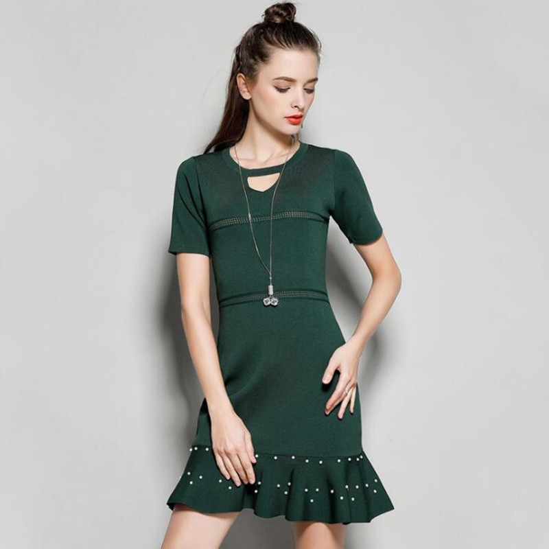 New Summer Short Sleeve Sweater Dress O Neck Hollow Out High Waist Short Knitted Dress Ruffled Bandage Dress with Beads