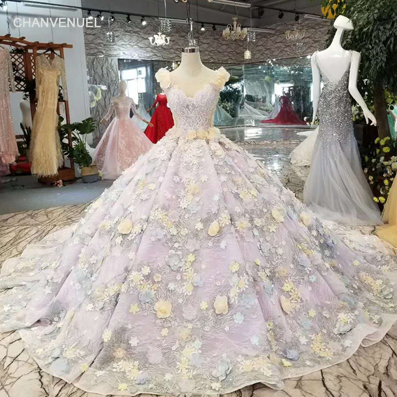 LSS184 light purple   evening     dress   luxury fairy full of yellow 3D flowers sleeveless see-through back festive   dress   watteau train