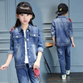 2017 Spring fall fashion hot classic children's denim suit girl applique peony flower denim blue leisure two-piece