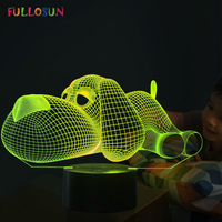 Dog Lamp 3D Night Light Kids Toy LED 3D Touch Table Lamp 7 Colors Flashing LED