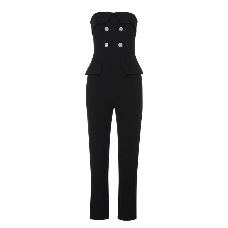Max Spri 2019 New Fashion Women Sexy Strapless Button Sleeveless Jumpsuit Celebrity Party Skinny Jumpsuit Romper Soil Black in Jumpsuits from Women 39 s Clothing