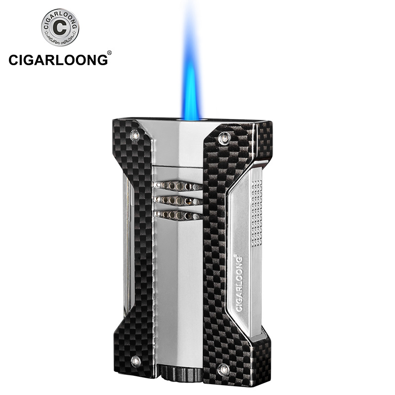 Купить с кэшбэком Cigar Lighter 2pcs Set Portable Windproof Lighter With Stainless Steel Sharpness Double-edge Cigar Cutter Gift Box Packed CB-05