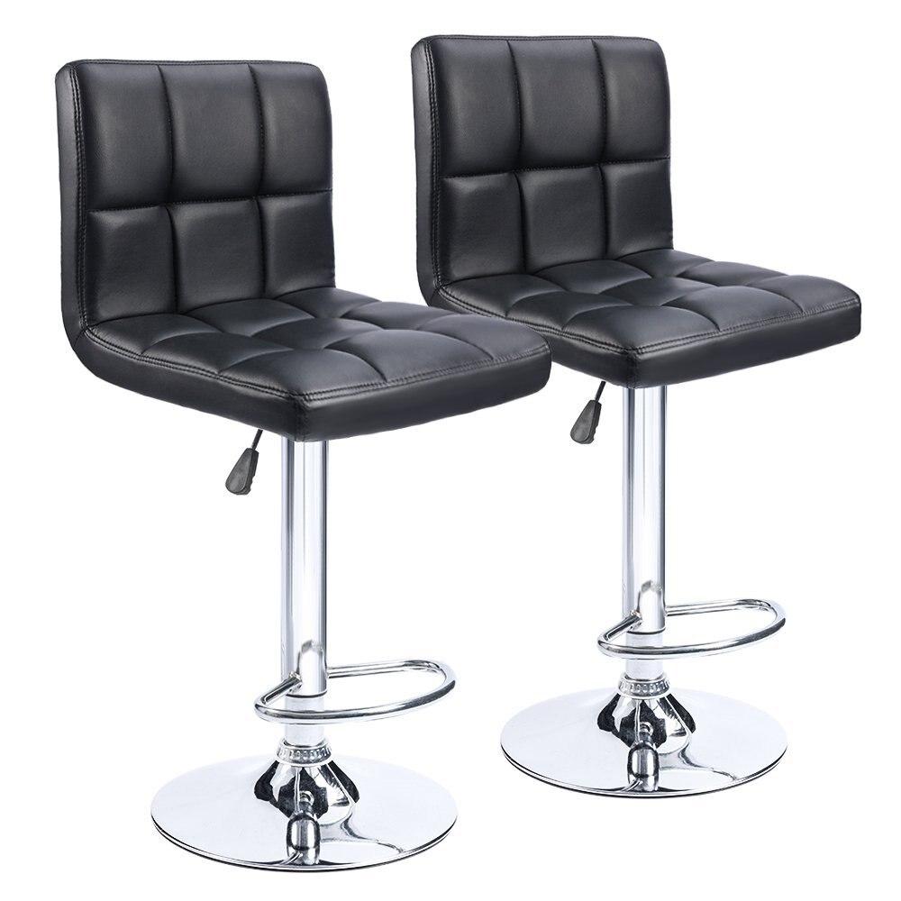 Homall барные стулья Поворотный Черный Таможенный Кожа, регулируемая по высоте паб барный стул мебель, набор из 2 нами FR DE со T-HFBS00 ...