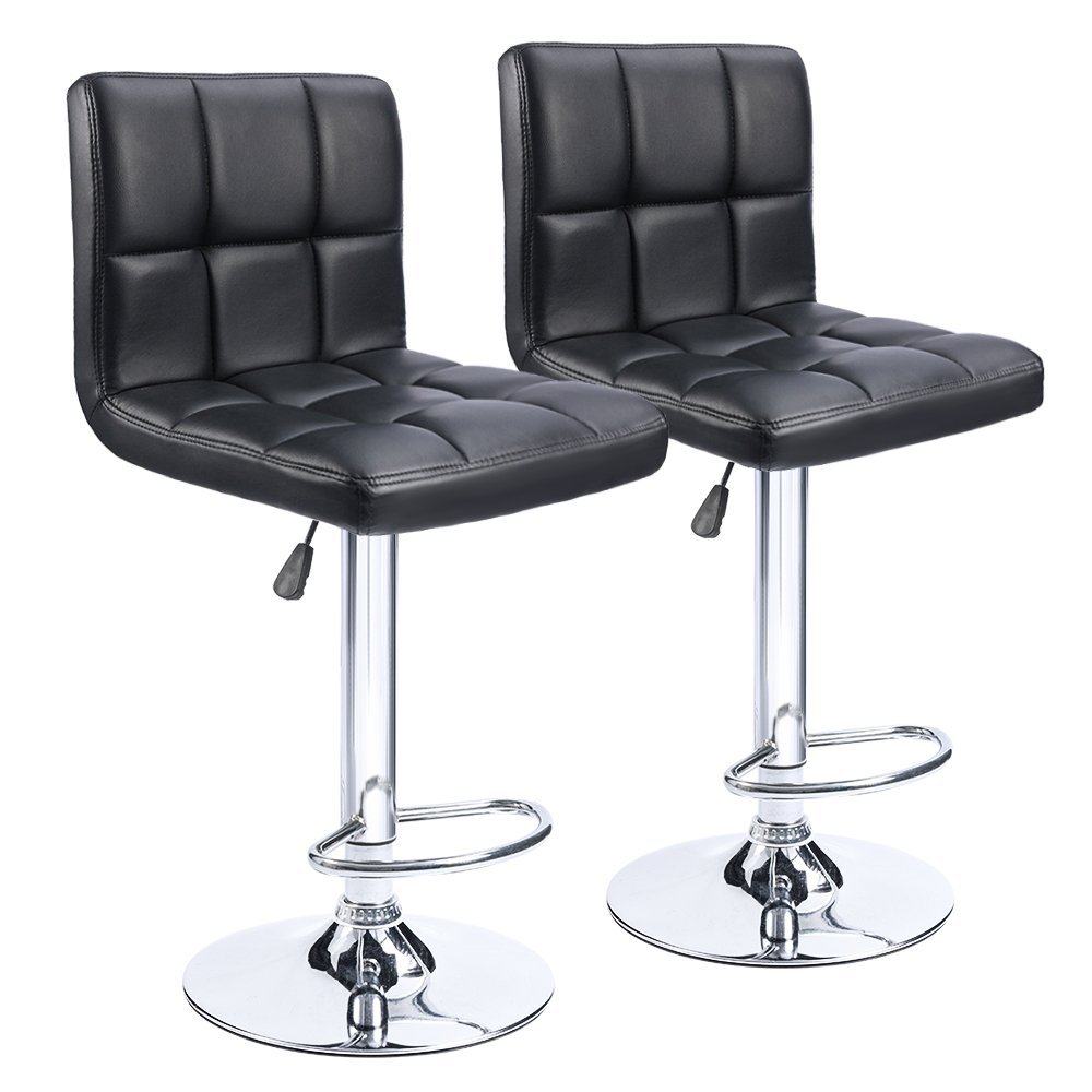 Homall Bar Stools Swivel Black Bonded Leather Height Adjustable Pub Bar Chair Furniture, Set of 2 US FR DE Stock T-HFBS00 homall bar stool walnut bentwood adjustable height leather bar stools with black vinyl seat extremely comfy with seat back pad