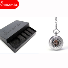 High Quality  Silver Double Open Case Black Dial Hand Wind Steampunk Watch Unisex Roman  Numbers Mechanical Pocket Watch  PW366
