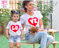 MVUPP family t-shirt love family matching shirts short sleeve funny t shirts round neck family look LOVE mom and baby cloths