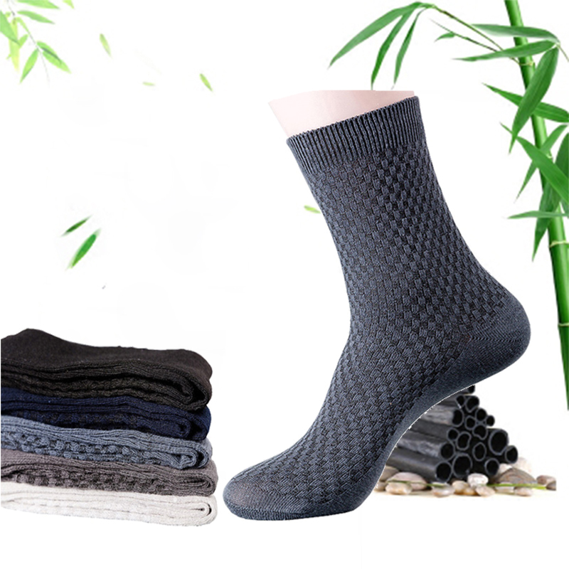 5 Pairs/lot Men Bamboo Fiber And Cotton Socks Long Warm Socks For Mens Four Seasons Sweat Breathable Socks Plus Size EUR 42-46