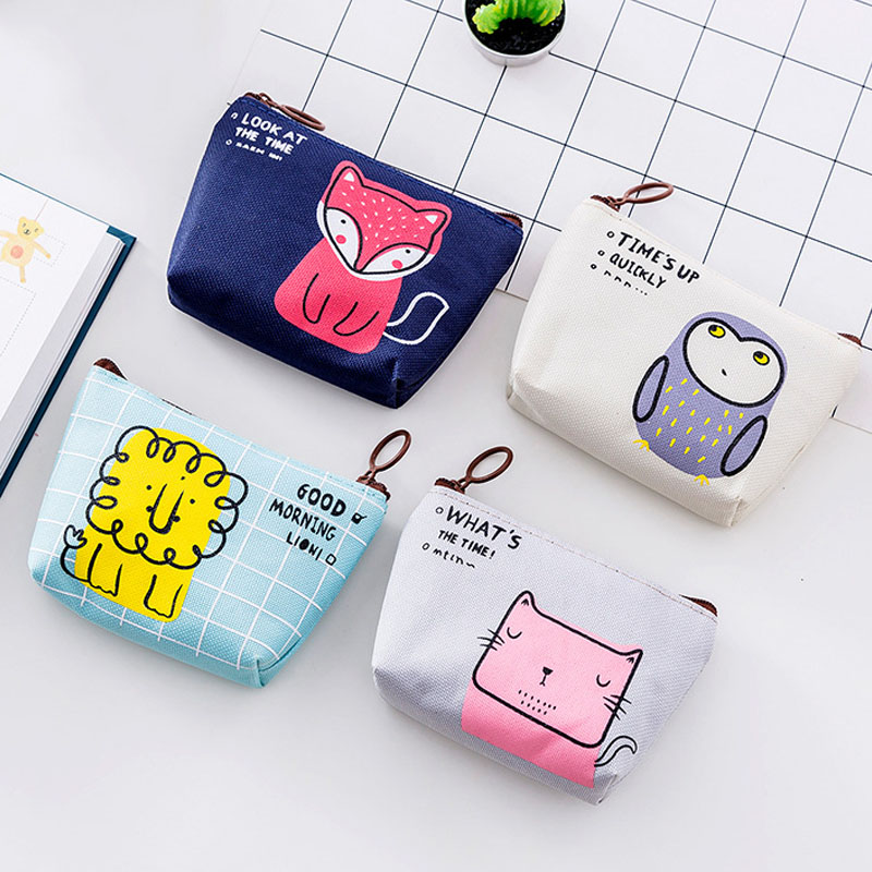 70PCS / LOT  Portable Small Fresh Coin Purse Women Mini Printing Zero Wallet Girl Cute Zipper Simple Animal