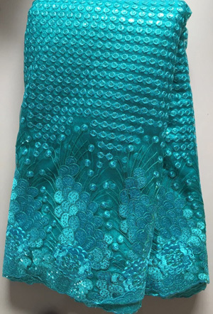 Wholesale 2019 Latest African French Net Lace Fabric with sequins 5y.High Quality African Tulle Lace Fabric For Wedding  ELL2847