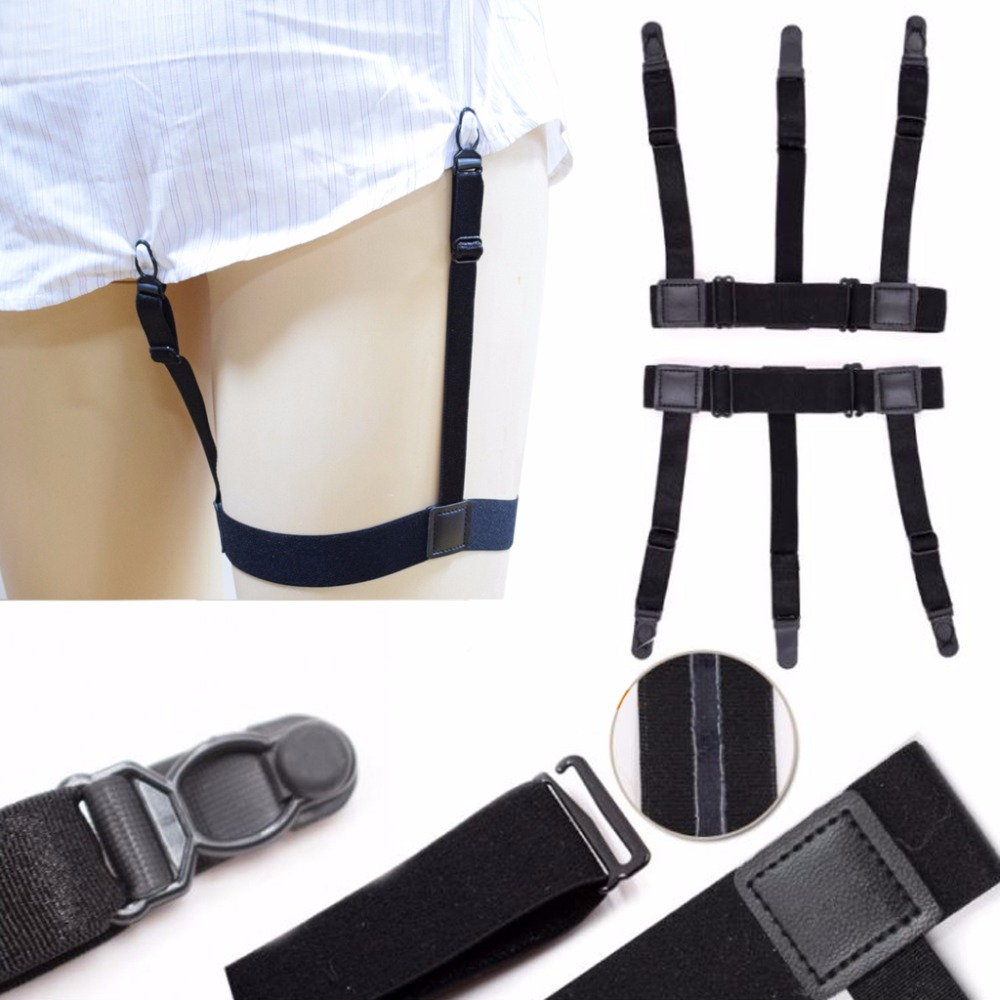 2Pcs/Set Mens Elastic Leg Suspenders Plastic Non-slip Locking Clamps Shirt Stays Black Elastic New Fashion 3 Buckles Adjustable