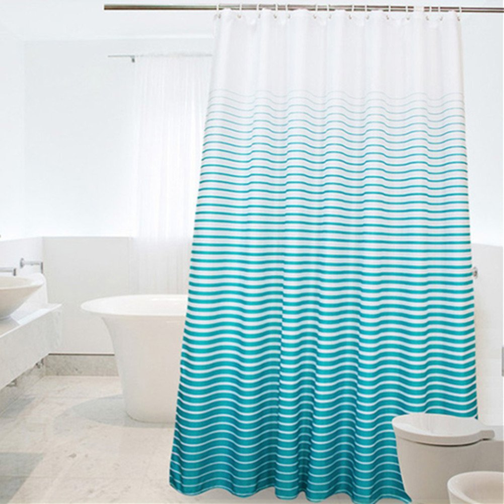 Shower Curtain Ombre Stipes Pattern Design, Heavy Duty Polyester Bathroom  Curtain Waterproof And Mildew Resistant