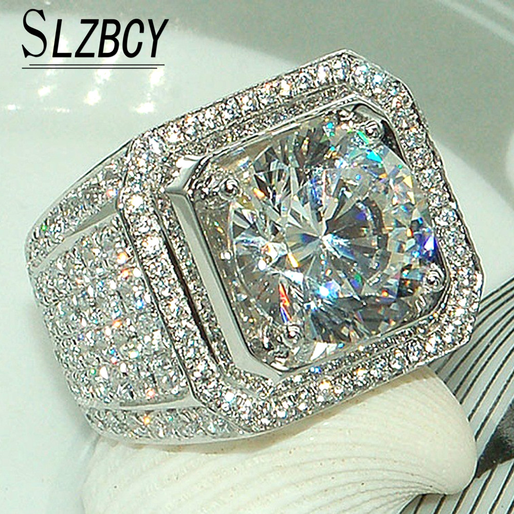 Hip hop Silver Color Rings Mens Filled AAA Cubic Zircon Bling Wedding Ring  for Men Big dc8837bc9864