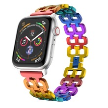 цены Luxury Rainbow Aluminium Alloy Watch band Strap For Apple Watch 38/40mm 42/44mm Bracelet Strap for Apple Watch Series1 2 3 4 5