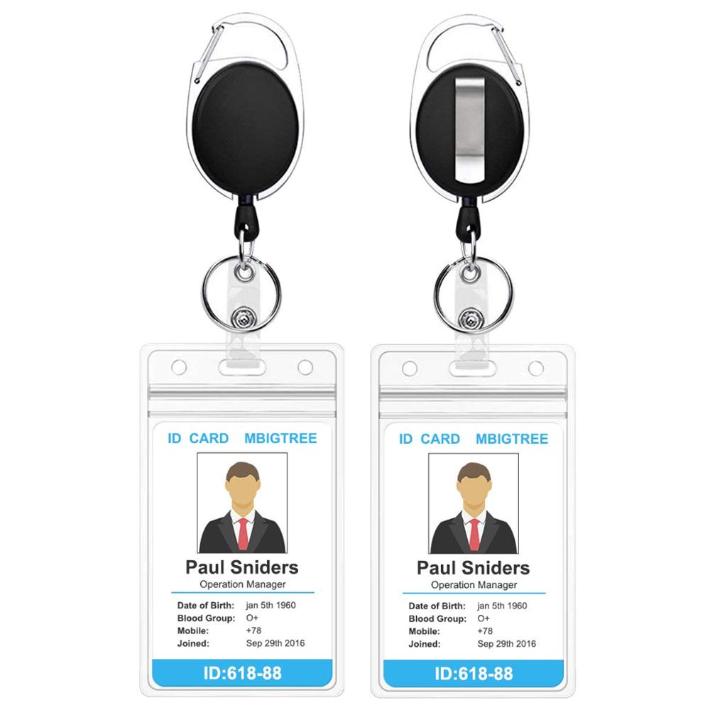2 Pack Women Male Credit Visit Bus Credit Card Case Retractable Badge Holders With Reel Clip And Clear ID Card Holder